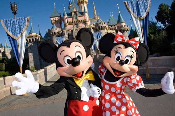 Mickey Mouse and Minnie Mouse in Disneyland Park