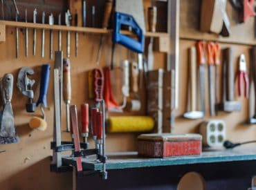 Organised tools in a shed