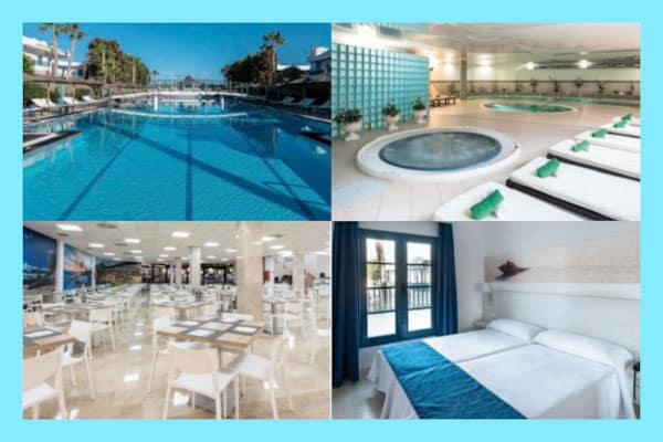 Collage of the facilities at THB Tropical Island including swimming pool, SPA, restaurant and bedroom