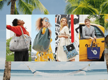 A collage of models with Kipling bags overlaying a hammock and palm trees background