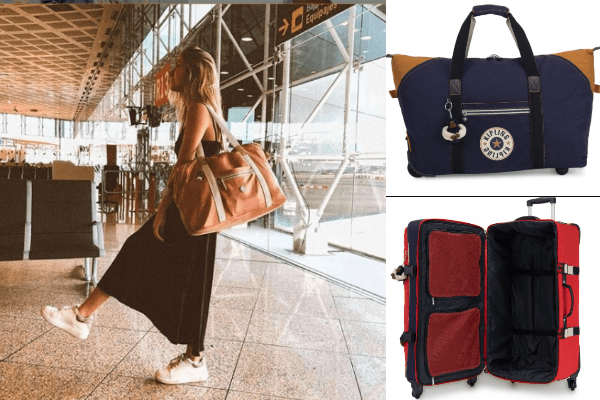 Collage of Kipling bags with lady looking stylish in the airport