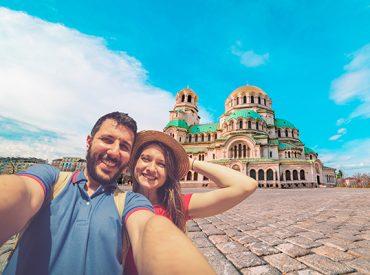 Couple take selfie in Bulgaria in September