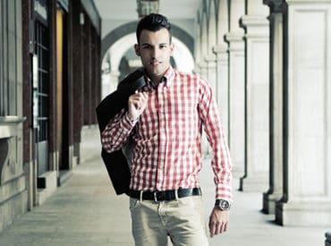 shirt wearing male model
