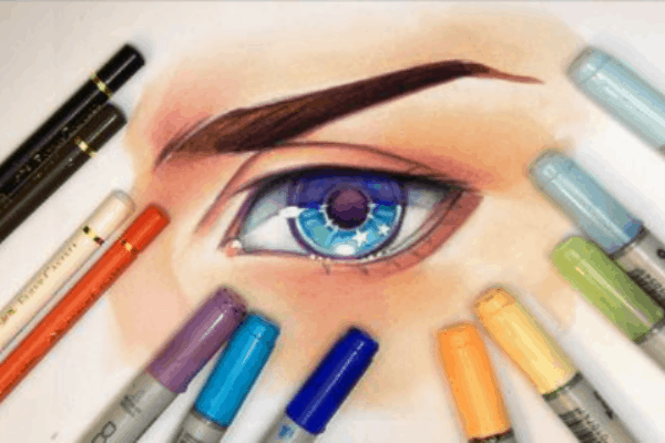 Drawing of an eye using Copic markers