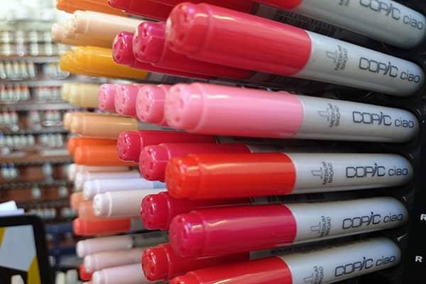 Copic pens in an art shop