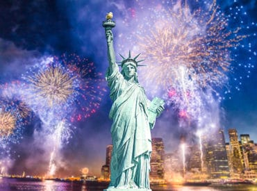 New York new year celebrations with the Statue of Liberty in the front