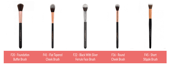 A selection of make-up brush available from Blank Canvas Cosmetics