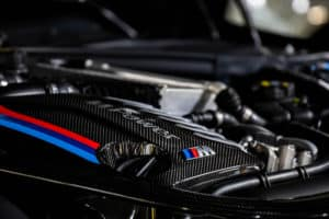 Close up of performance BMW M-badged engine