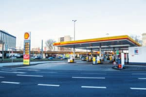 Shell filling station on side of the road