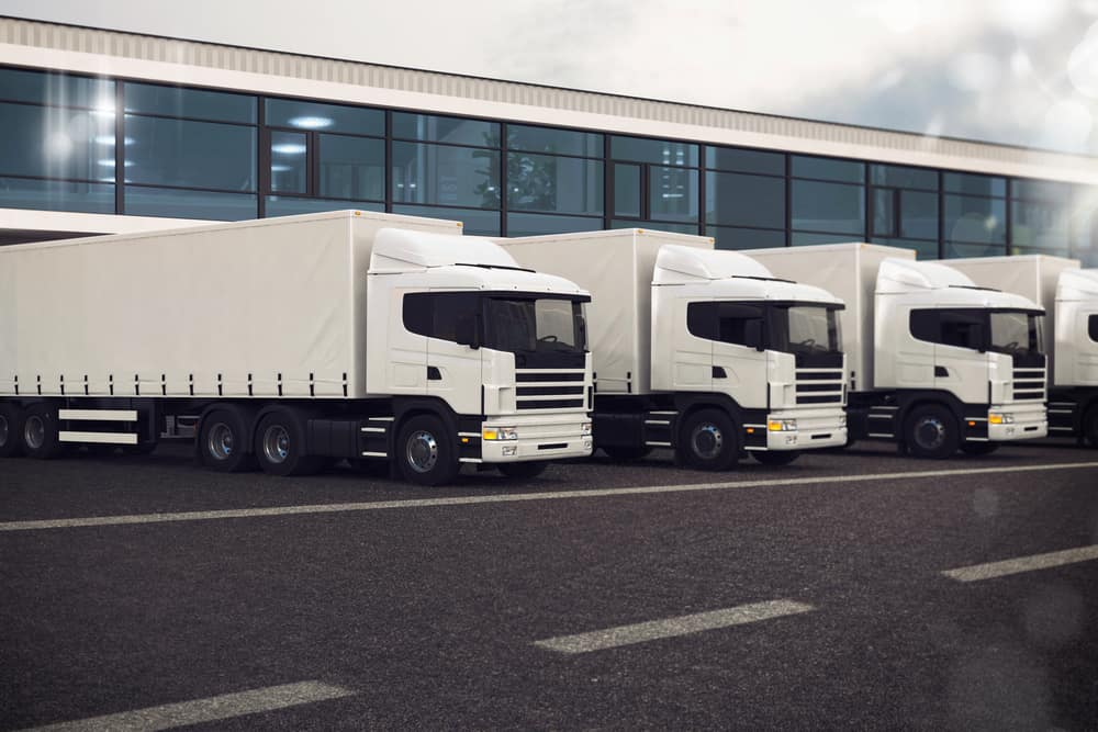 Fleet of parked HGVs with trailers